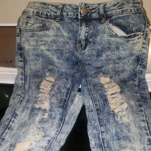 💝Distressed stone washed Big girls/ junior jeans